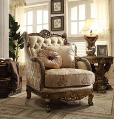 This elegant sofa is sure to be a dazzling focal point in your traditional living room. Luxurious patterned accent pillows create a distinctive look, while the deep, plush seat cushion supports you in glamorous comfort and style. Formal Living Rooms, Living Room Sets, Living Room Chairs, Living Room Furniture, Home Furniture, Furniture Design, Antique Furniture, Victorian Furniture, Furniture Catalog