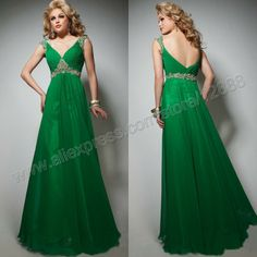 Green Chiffon V Neckline Backless Tony Bowls 2013 Evening Dresses and Gowns Cheap $119.99