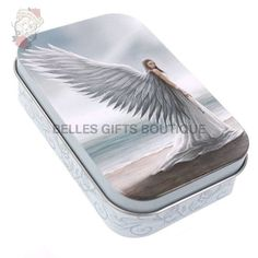 This small metal storage tin is from the stunning Anne Stokes range. Featuring the beautiful and popular 'Spirit Guide' design, the tin is in height x width and has a grey intricate floral pattern printed around the side. Anne Stokes, Gothic Vampire, Weird Gifts, Spirit Guides, Tin, Hoes, Angels, Cherubs, Plastic