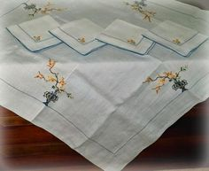 The Vintage Village - View Classified - Tablecloth Napkins Luncheon Set, Vintage 1930s Oriental Motif