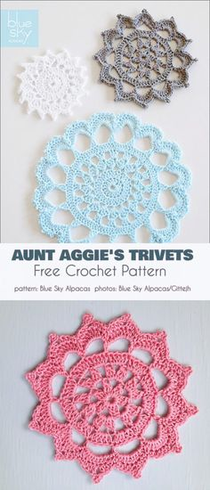 Aunt Aggie's Trivets Coasters Free Crochet Pattern Crochet Trivet Patterns, Crochet Circle Pattern, Crochet Circles, Crochet Coaster, Yarn Thread, Thread Crochet, Knit Crochet, Granny Square Häkelanleitung, Paper Embroidery