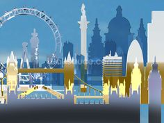 London Skyline Illustration wall mural
