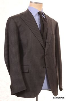 ORAZIO LUCIANO Sartoria La Vera Gray Striped Wool Business Suit EU 56 NEW US 44 46