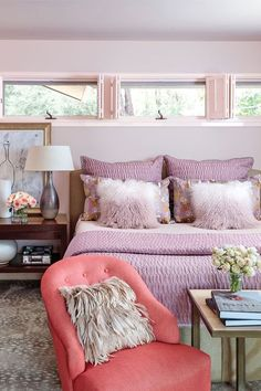 lavender, green, coral and blue - Google Search Room Color Combination, Gold Bedroom Decor, Bedroom Ideas, Cozy Bedroom, Bedroom Inspo, Pastel Room, Vintage Sofa, Brown Walls, Bedroom Color Schemes
