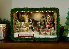 Christmas Decorations Dioramas Shadowboxes by CleanDesignCreations Christmas Shadow Boxes, Christmas Card Crafts, Christmas Minis, Vintage Christmas Ornaments, Pink Christmas, Christmas Home, Christmas Decorations, Christmas Mantles, Victorian Christmas