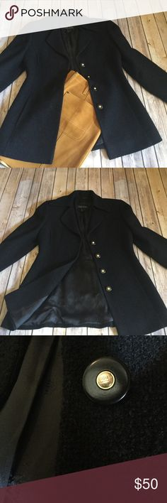 Escada black wool jacket Escada black wool jacket, fully lined. In good used condition, no rips, stains, or holes, beautiful detailed black and gold,buttons. Perfect for the office with skirts or trousers, or jeans, plain tee and heels. Escada Jackets & Coats Blazers