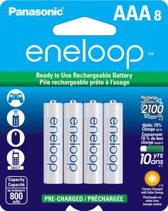 Panasonic BK-4MCCA8BA Eneloop AAA 2100 Cycle Ni-MH Pre-Charged Rechargeable Batteries (Pack of 8)