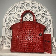 Brahmin Large Duxbury Satchel & Credit Card Wallet SET Candy Apple Red | eBay