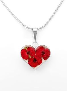 Sterling Silver Heart Natural Red Flowers Pendant Taxco Mexico #Flowers