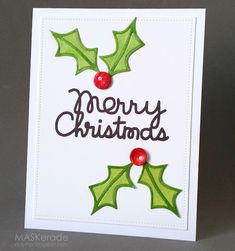 Card by PS GDT Ardyth using PS Merry Christmas die, Holiday Cheer, Holly dies