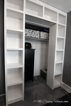 these shelves would be cool around a closet door to extend the size and shape of the closet. hang a tension rod and curtain to turn a small closet into a walk-in! #kidsbedroomfurniture