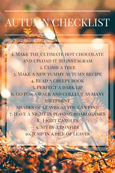 You have to do check all these things off to achieve the perfect Autumn! Dark Lips, Fall Recipes, Hot Chocolate, Things To Do, About Me Blog, Autumn, Health, How To Make, Posts