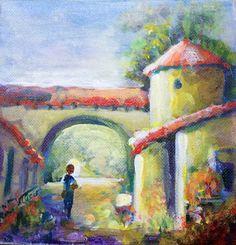Minnie Valero: SPANISH VILLAGE, Balboa Park, San Diego, acrylic o...