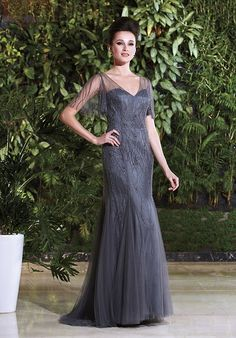 Jade Couture K168009 Silver Mother Of The Bride Dress