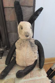Primitive Grungy Folk Art Panda Rabbit Parsley #NaivePrimitive #Myself
