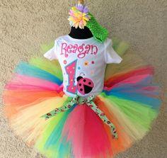 Girls Rainbow Ladybug 1st Birthday Tutu Outfit