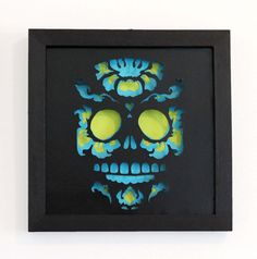 Framed Day Of the Dead Sugar Skull Cut Paper Wall Art by hvansick