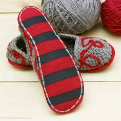 Add fancy DIY felt soles with no-slip grips to your favorite knitted or crocheted slippers!
