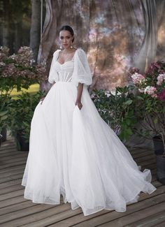Wedding dress GREIM with balloon sleeves and poofy skirt by Blammo-Biamo Poofy Wedding Dress, Sweet Wedding Dresses, Luxury Wedding Dress, Perfect Wedding Dress, Bridal Dresses, Wedding Gowns, Bridesmaid Dresses, The Bride, Corsage