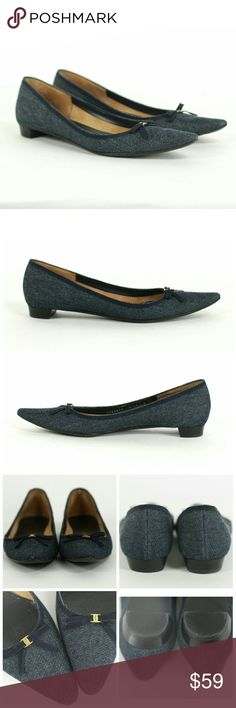 """Salvatore Ferragamo Severina denim flats bow Size 9AAA.  Salvatore Ferragamo Severina denim pointed toe flats. Feature a bow with a gold tone Salvatore Ferragamo engraved buckle. Stacked heels measure approx .75"""" in the back. Gently used with wear on soles. Excellent condition above soles. Salvatore Ferragamo Shoes Flats & Loafers"""