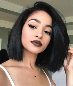 Side part straight bob wigs for black women human hair wigs lace front wigs african american wigs hairstyles Bob Hairstyles 2018, Black Bob Hairstyles, Short Bob Hairstyles, African Hairstyles, Wig Hairstyles, Black Hairstyles Medium Length, Hairstyle Names, Hairstyles Pictures, Short Straight Hair