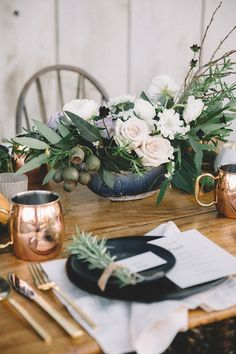 Black + copper table accents.