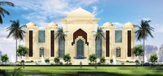MNA Group, based in Kuwait, Qatar and Lebanon, executed the design and construction of the HH NS-Palace in Kuwait, Middle East. New Modern House, Modern House Design, Pool Shade, Mughal Architecture, Fantasy House, Villa Design, Story House, Facade House, Moorish