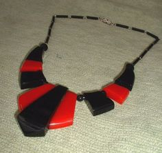 Large chunky all galalith necklace in red and black by Jakob Bengel. Made in the 1930's