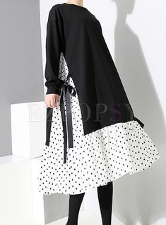 O-neck Long Sleeve Bowknot Tied Splicing T-Shirt Dress Dresses Fashion 2020, Fashion Online, Hijab Fashion, Fashion Dresses, Dresses Dresses, Spring Dresses, Dance Dresses, Fashion Fashion, Dress Outfits