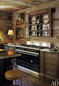 Walls And Ceiling In The Kitchen Of A Log Cabin Style Home Foothills Tennessee S Great Smoky Mountains Are Clad With Salvaged Wood