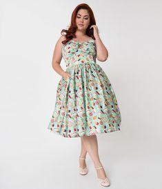 777c2c53f6929 Unique Vintage Plus Size 1950s Style Mint Amusement Park Foods Print  Chateau Swing Dress