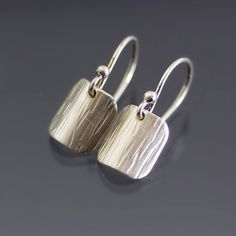 Curved Textured Silver Earrings Sterling Silver by lisahopkins