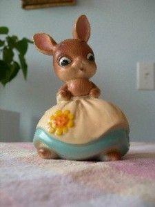 Little Girl Bunny Rabbit Josef Original Figurine Vintage 1960's Collectible