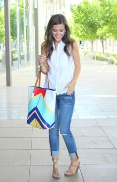 Sophistifunk: Classic with a Twist - denim and eyelet detail white sleeveless shirt