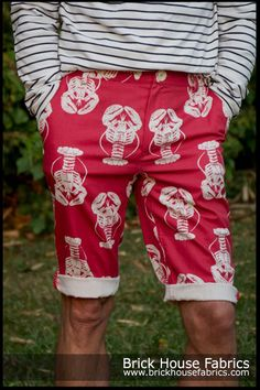 Karen sent in this picture of these fantastic Shorts that she made for her husband using our - Lobster fabric red white  #shorts #diy #sewing #project #summer #clothing #fabric #lobster #red #coastal #beach
