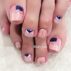 Pink-Geometric Toe Nail Art nailbook.jp