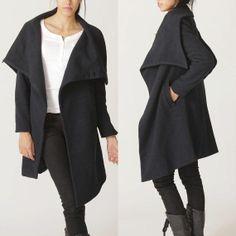 big collar wool coat BLACK winer warm coat FM011 by RenzRags