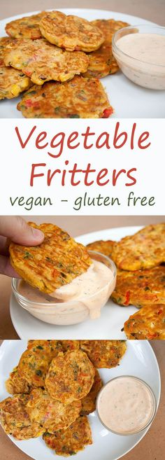 Vegetable Fritters (vegan, gluten free) - These fritters make a great appetizer or meal. If you have vegetables to use up, these are a great way to use them up. dinner vegetables The Most Amazing Vegetable Fritters - Veggie Dishes, Veggie Recipes, Whole Food Recipes, Cooking Recipes, Corn Flour Recipes, Chickpea Flour Recipes, Vegetable Recipes For Dinner, Vegan Recipes Using Chickpeas, Vegan Recipes Vegetables