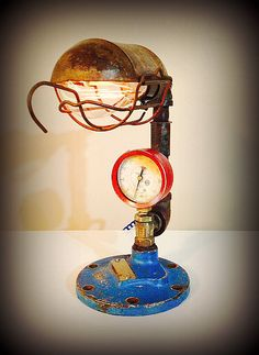 """No. 91 - """" Trapped"""" - Reclaimed Industrial Valve Vintage Trouble Cage Upcycled Industrial Lamp on Etsy"""