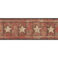 "Country Keepsakes Country Cutout Star 15' x 9"" Wood Border Wallpaper"
