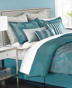 Martha Stewart Collection Bedding, Moonlit Tide 9 Piece Queen Comforter Set - Bed in a Bag - Bed & Bath - Macy's