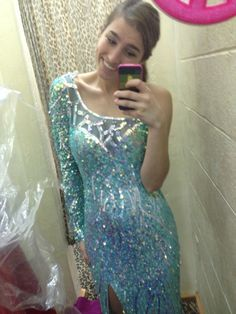 I tried on an Elsa from Frozen prom dress
