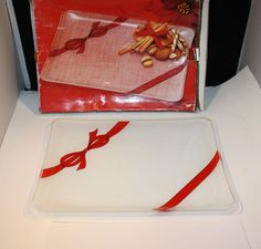 Mikasa Christmas Ribbon Rectangular Platter Tray Glass Red Bow WA010/314 #Mikasa
