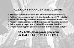 #accountmgr #pharma #MedComms #MedEd #fullservice #agency #projectmgt #budgets #lifescience #MGTJOBS #JOBS