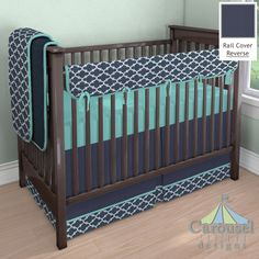 Solid Navy Minky, Navy Quatrefoil, Solid Teal, Solid Navy used in crib bedding created with the Nursery Designer by Carousel Designs. Mix and match hundreds of fabrics to create your own unique baby bedding.