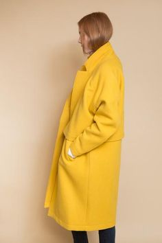 Double layered coat from Reality Studios. A statement in yellow, this piece is comfortable and features side pockets, long sleeves and a two-button front closure. The Roger coat is lined and also avai Yellow Fashion, Colorful Fashion, Hue Color, Colour Yellow, Fashion Cover, Yellow Submarine, Sweater Making, Happy Colors, Mellow Yellow