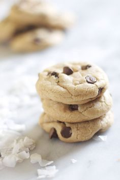 Coconut Chocolate Chip Cookies. Love this cooking blog. This darling girl lives in NYC and cooks in a TINY kitchen! She makes the BEST stuff!!