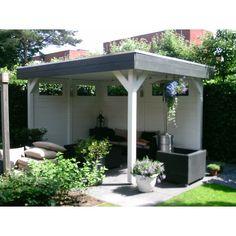 Afbeeldingsresultaat voor tuinhuis met overkapping zelf maken