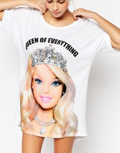 5401f759f7fad Image 3 of ASOS Queen Of Everything Barbie Oversized Night Tee Barbie Shoes