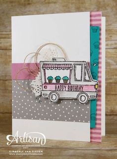 The Tasty Trucks stamp set is perfect for the foodie. See the  FREE tutorial to create this card and 4 others!